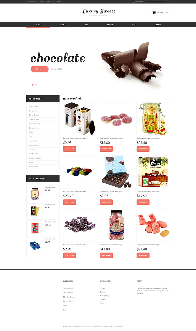 Delicious Sweet Shop Responsive Jigoshop Them