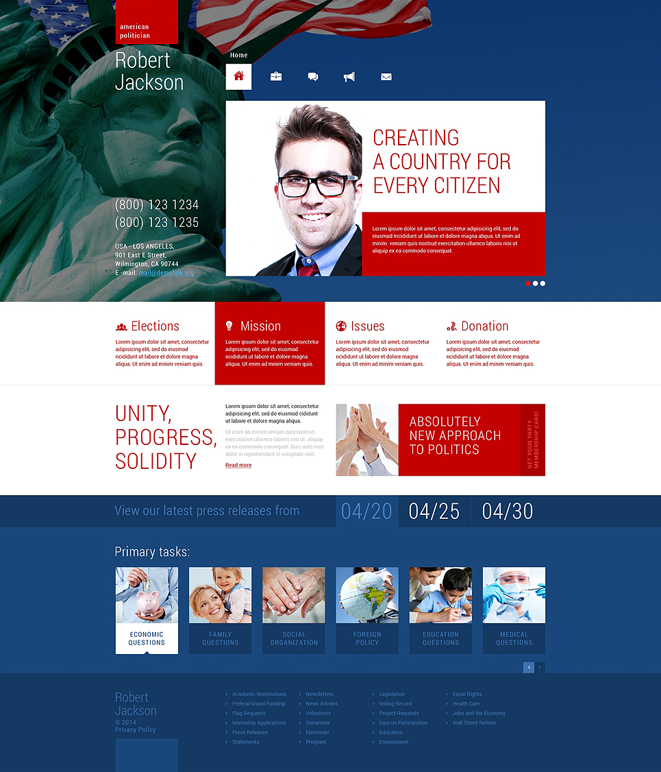 Political Candidate Responsive Wordpress Theme Templates Buy
