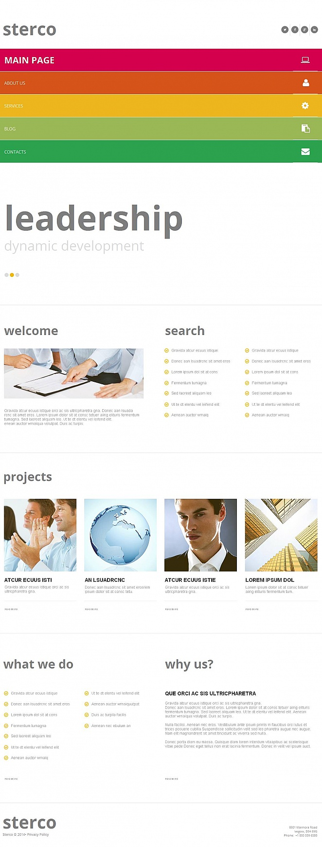 Clean Business Website Template with Rainbow Navigation Menu - image