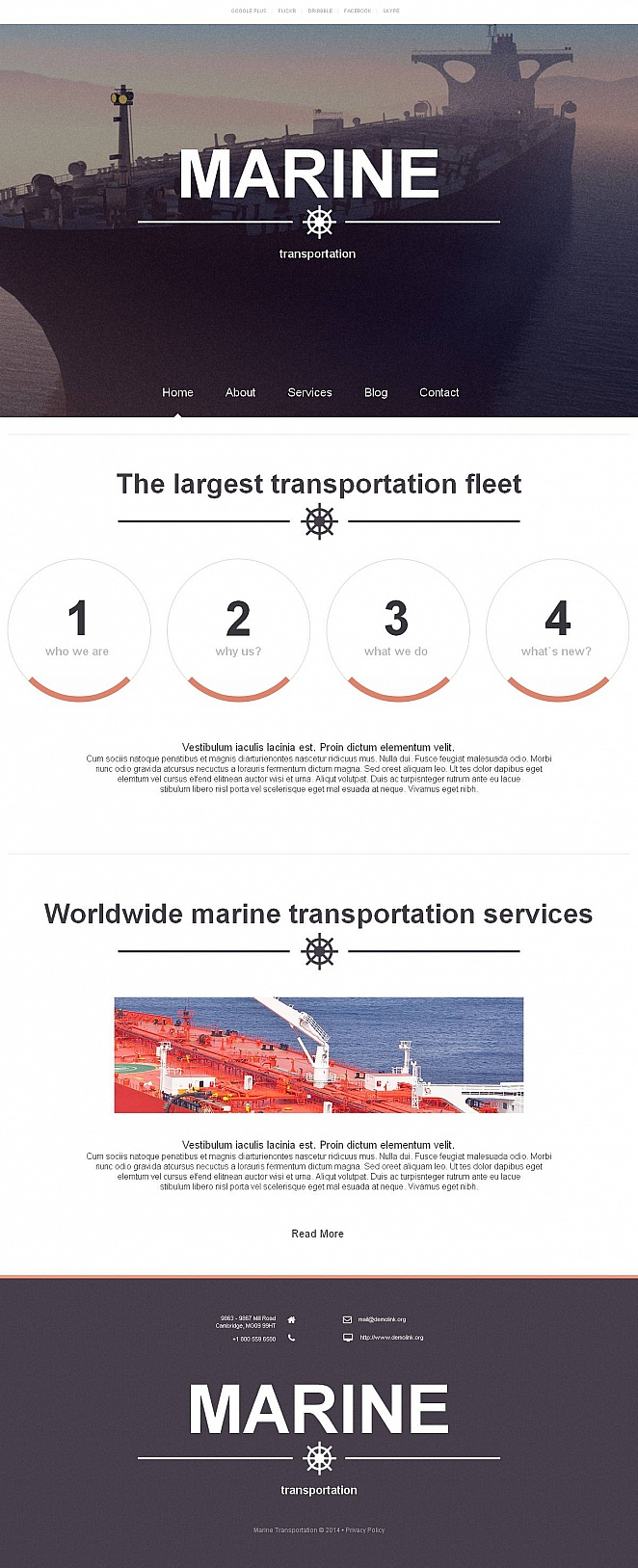 Marine Transportation Website Template with Large Header Image - image