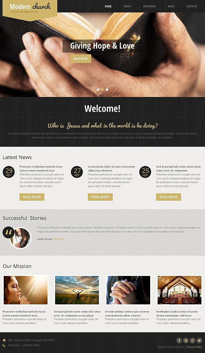 Modern Church Template with jQuery Slider on Wood Textured Background - image