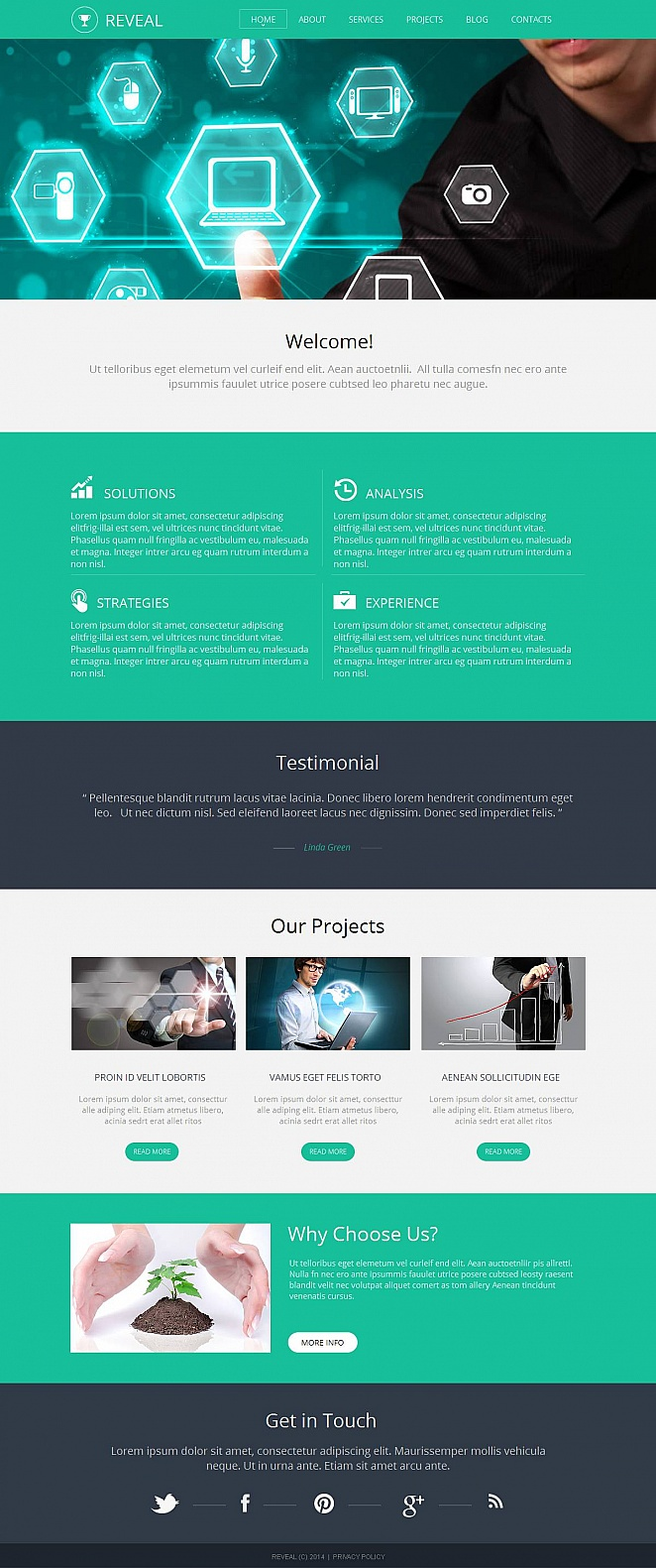 Mint Colored Website Template for Management Companies - image