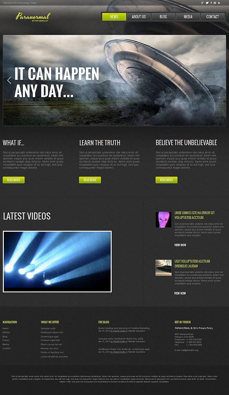 Moderne Webseiten-Vorlage zum Thema Ufo-Forschung