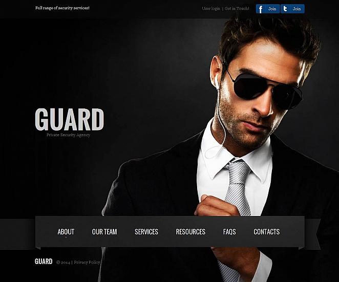 Homepage-Vorlage mit dunkler Gestaltung für einen Sicherheitsagenten