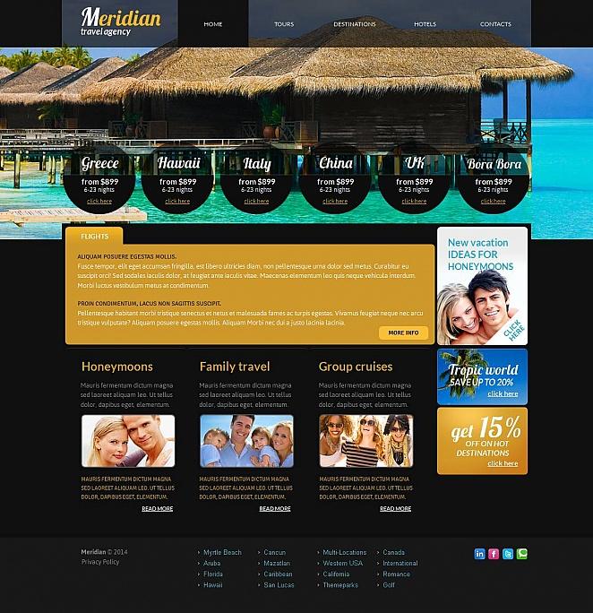 Fertiges Design von MotoCMS zum Erstellen der Webseite für ein Reisebüro - image