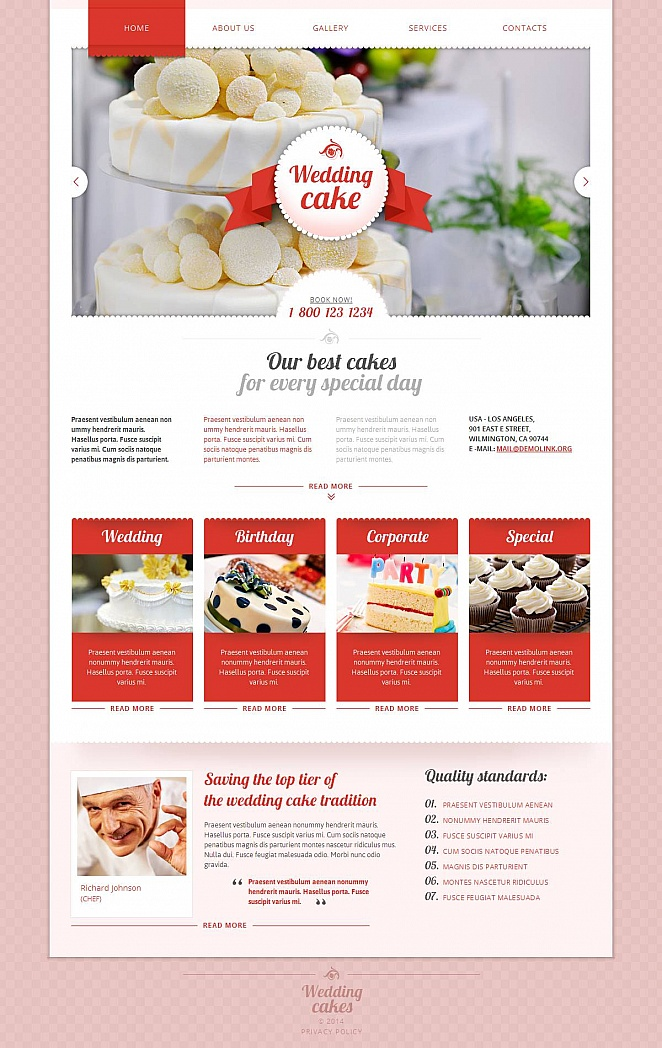 Wedding Cakes Website Template with Pink Background - image