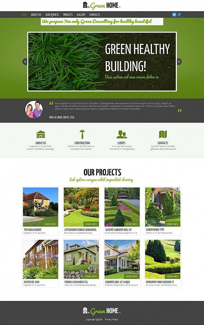 Webseiten-Vorlage mit grüner Gestaltung für Bauberatung