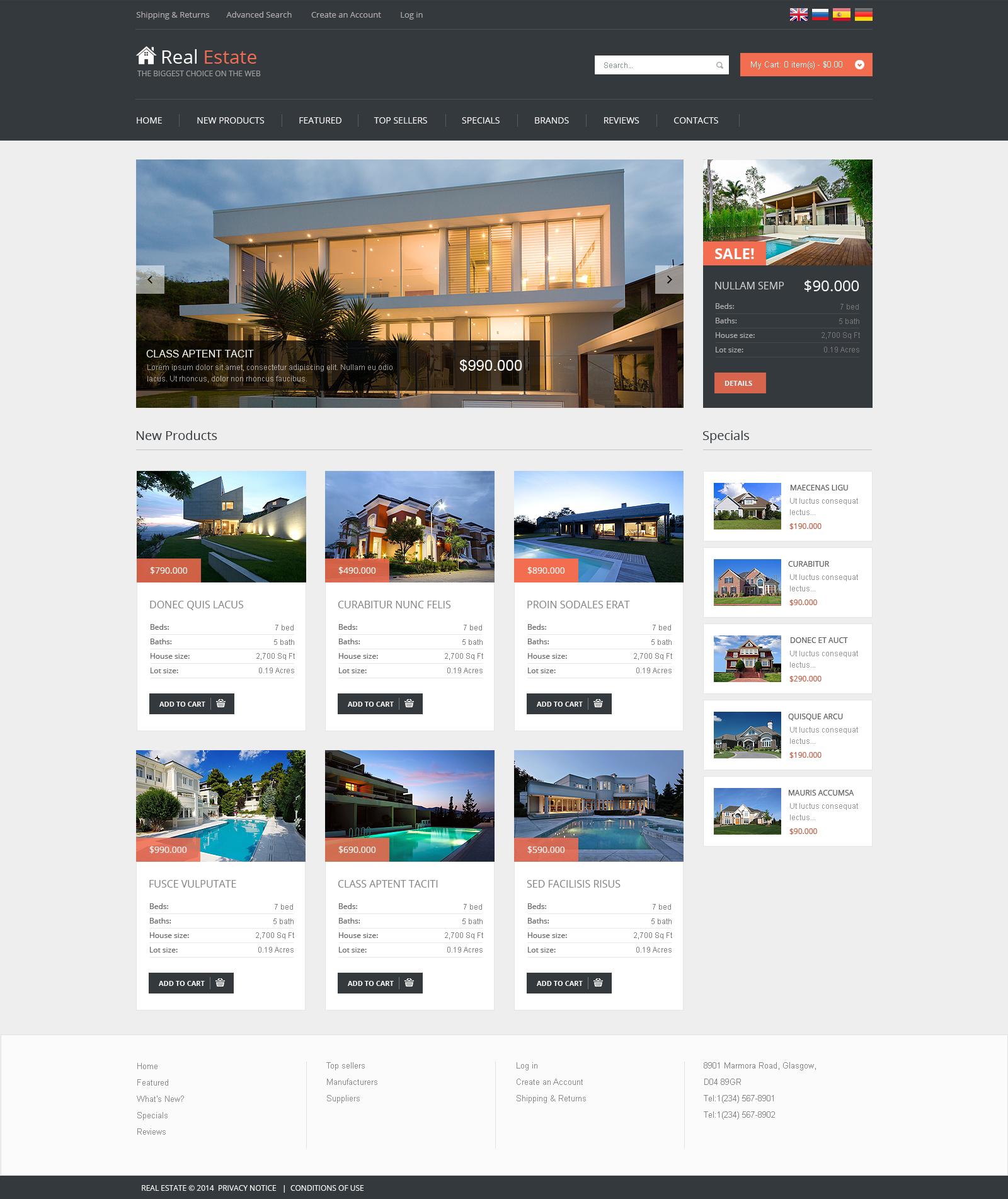 Plantilla oscommerce 48945 para sitio de agencia inmobiliaria for Agencia inmobiliaria