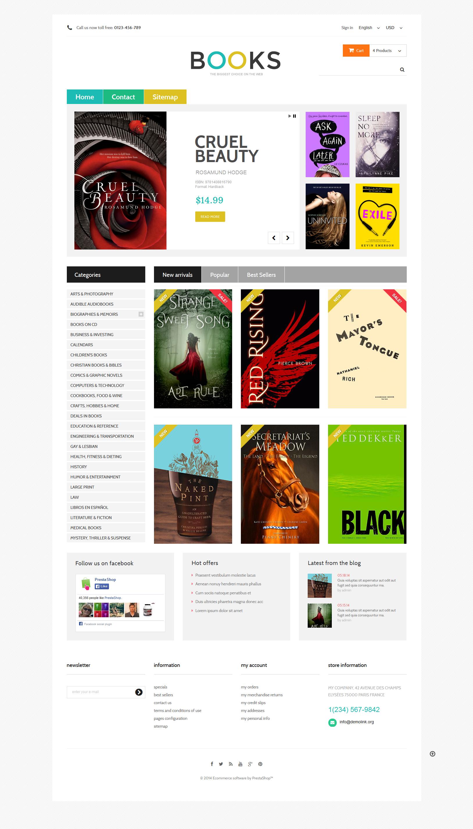 Modello prestashop per un sito di libri for Sito per acquistare libri