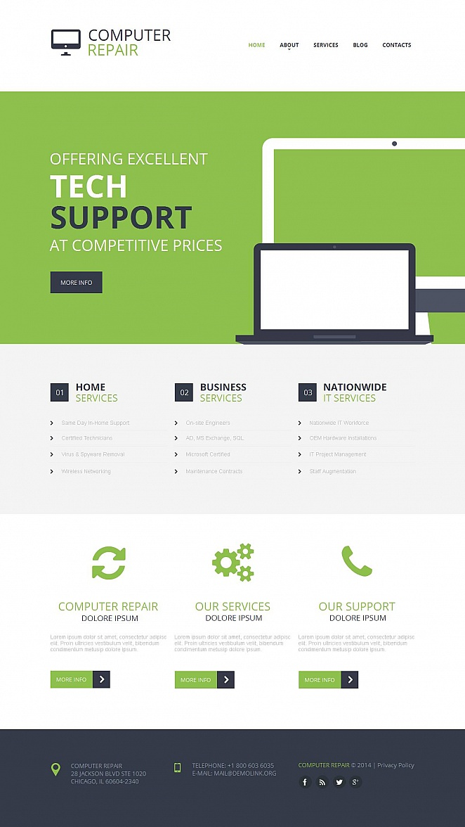 Webseiten-Vorlage für Reparatur von Computern