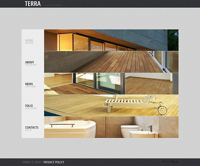 Real Estate Website Template with Creative Vertical Navigation - image