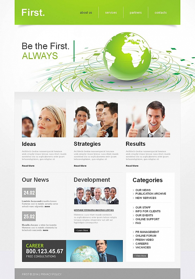 Gray Business Website Template with Green Header - image
