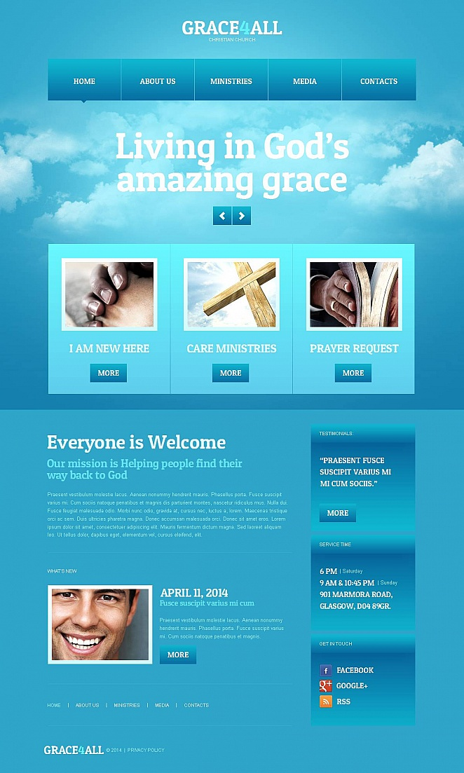 Religious Website Design with Sky Blue Background - image