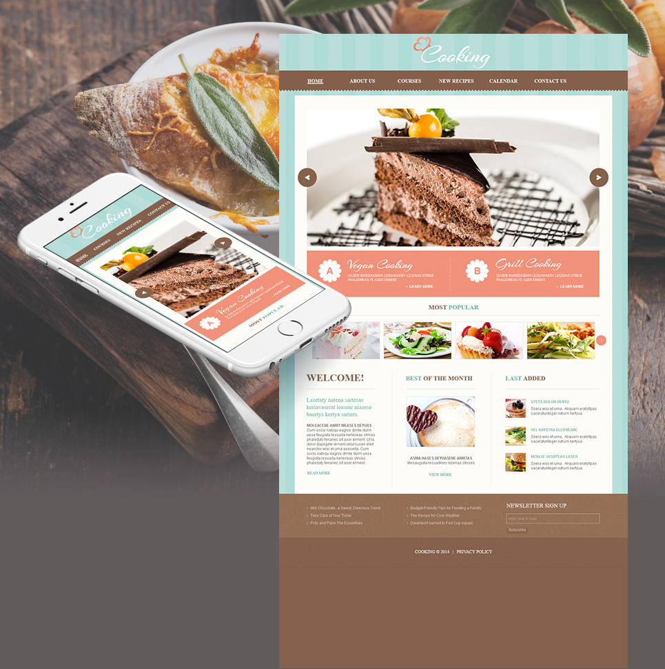 Cooking Website Template with Blue Textured Background - image
