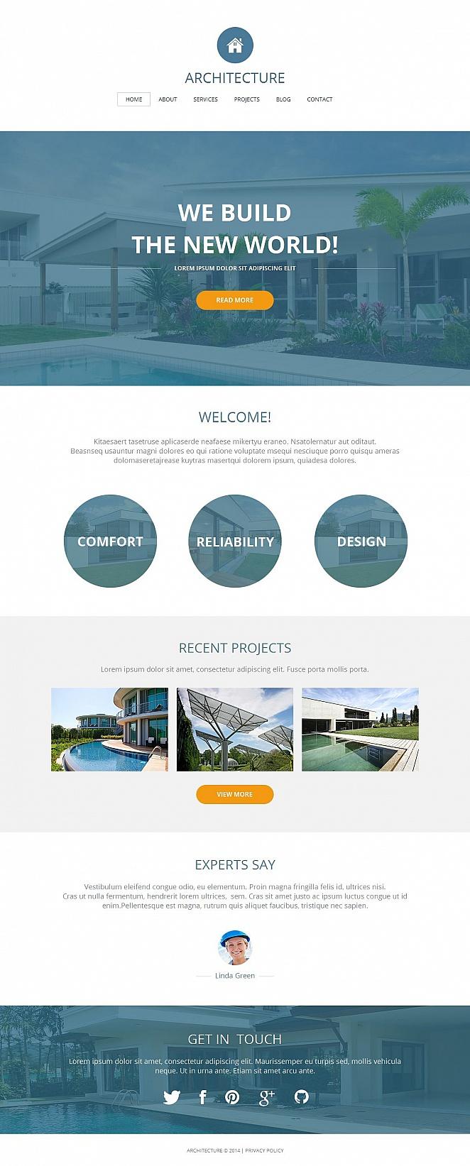 Architecture Portfolio Website Template with White Background - image