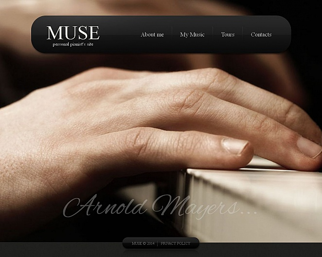 Pianist's Personal Website Design on Photographic Background - image
