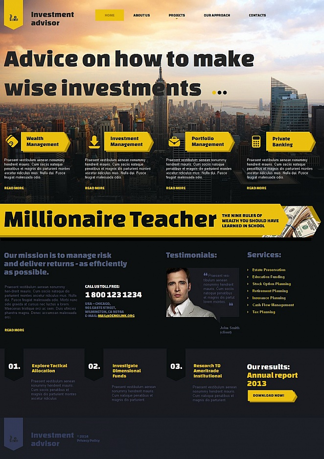 Investment Advisor Website Template with Content-rich Layout - image