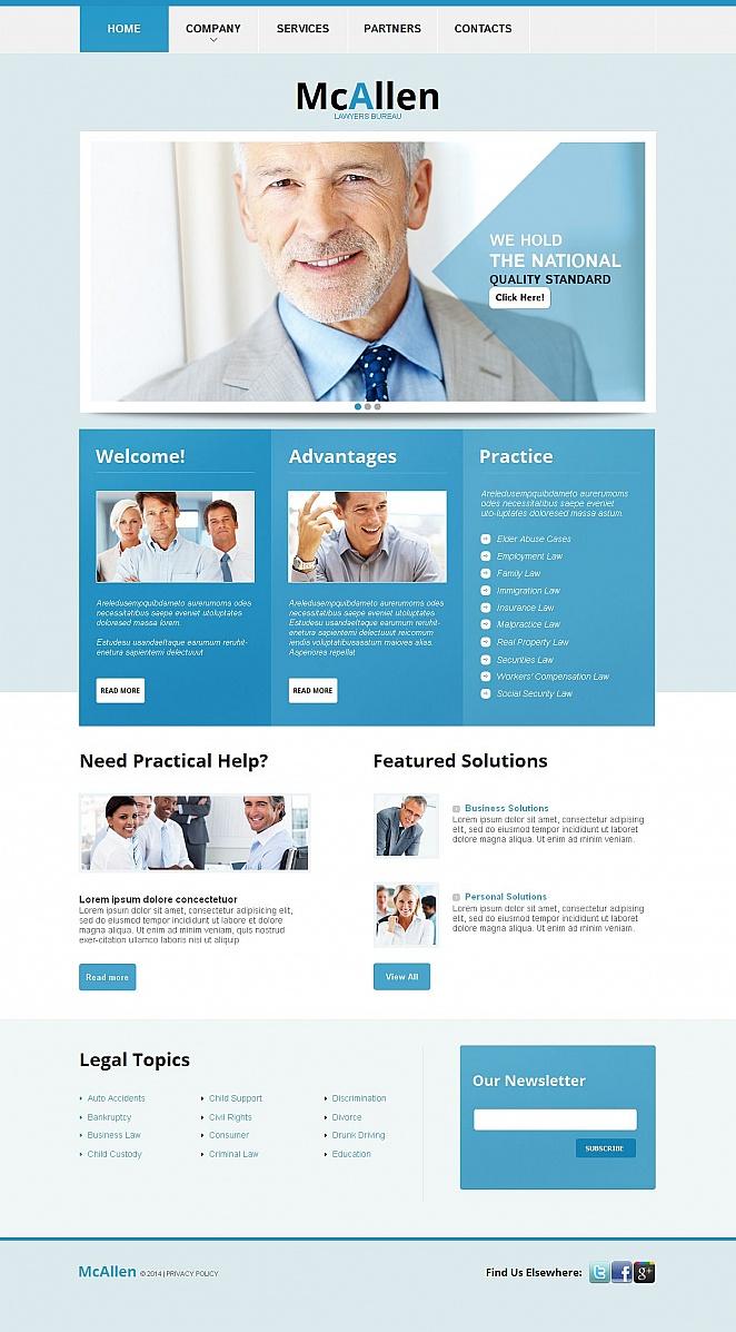 Homepage-Vorlage in blauen Tönen für Rechtsanwälte - image