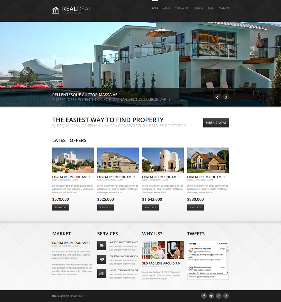 Clean & Professional Real Estate Agency Responsive Joomla Template