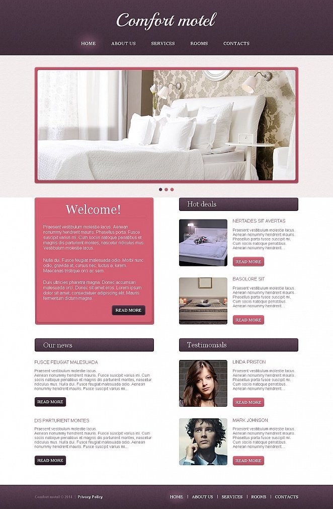 Motel Website Design with Pink-and-Purple Color Palette - image
