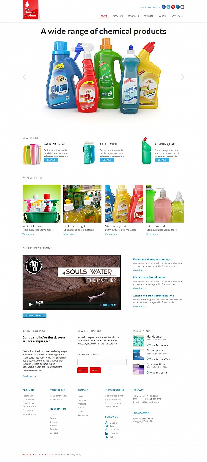 Cleaning Supplies Website Template with White Background - image