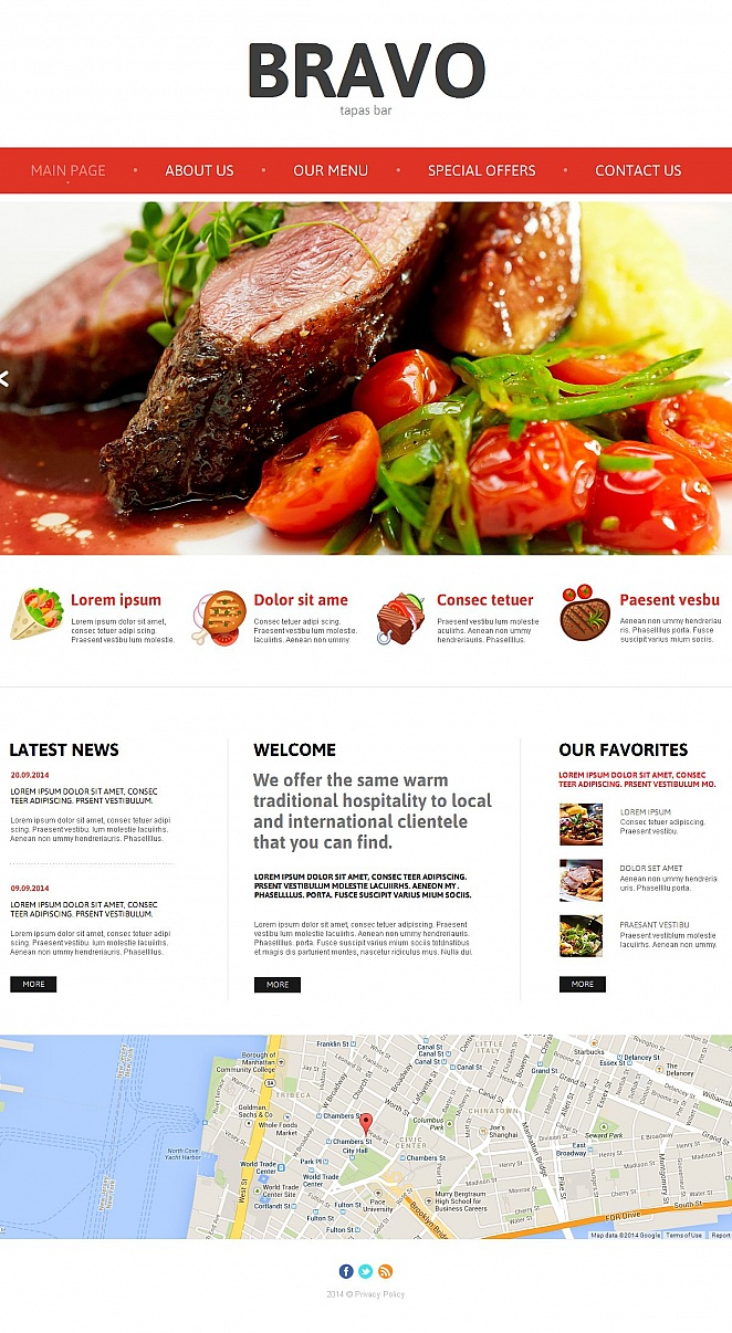 Tapas Bar Website Template with Textured Background - image