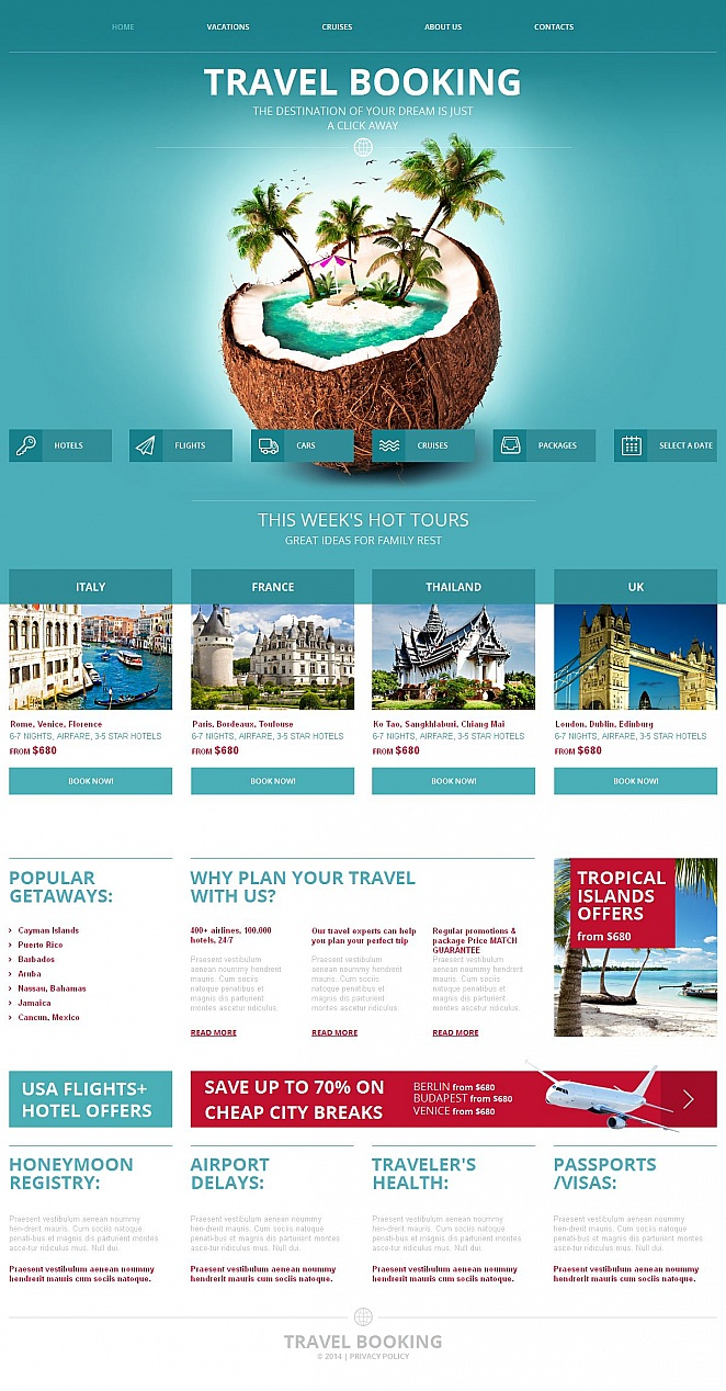 Travel Website Template Done in Sea Green Color - image