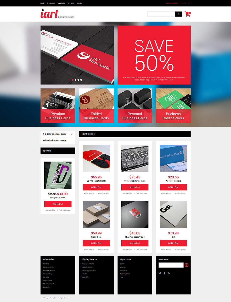 The Professional Business Card Store Magento Theme