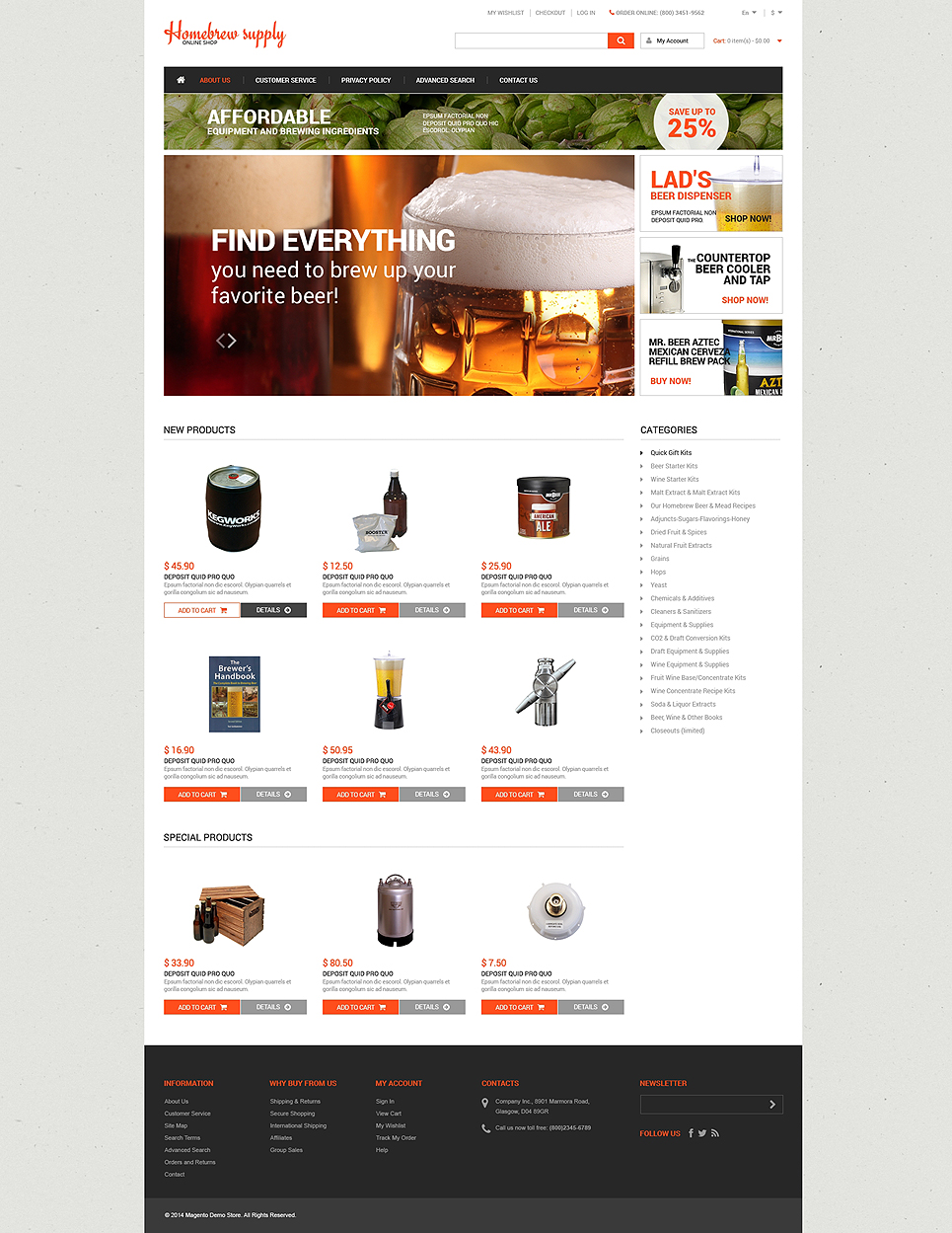Ultimate Home Brew Supply Magento Theme