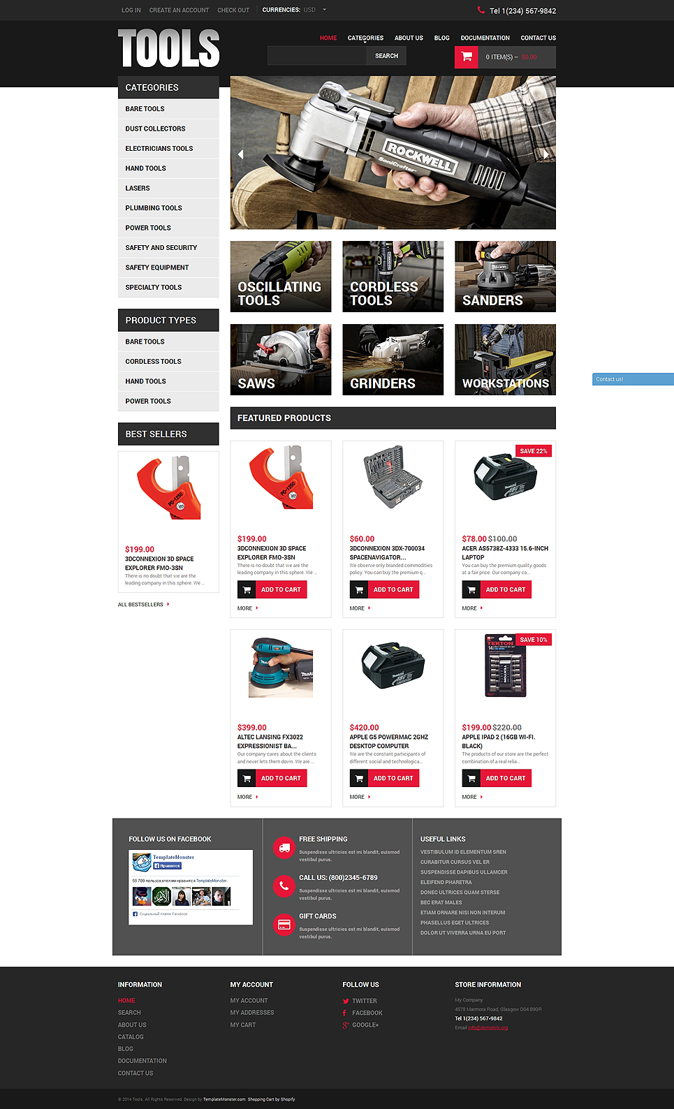 Tools equipment responsive shopify theme 49594 for Free shopify themes download