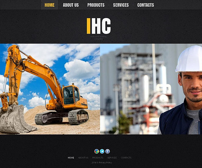 Industrial Website Template with Black Background - image