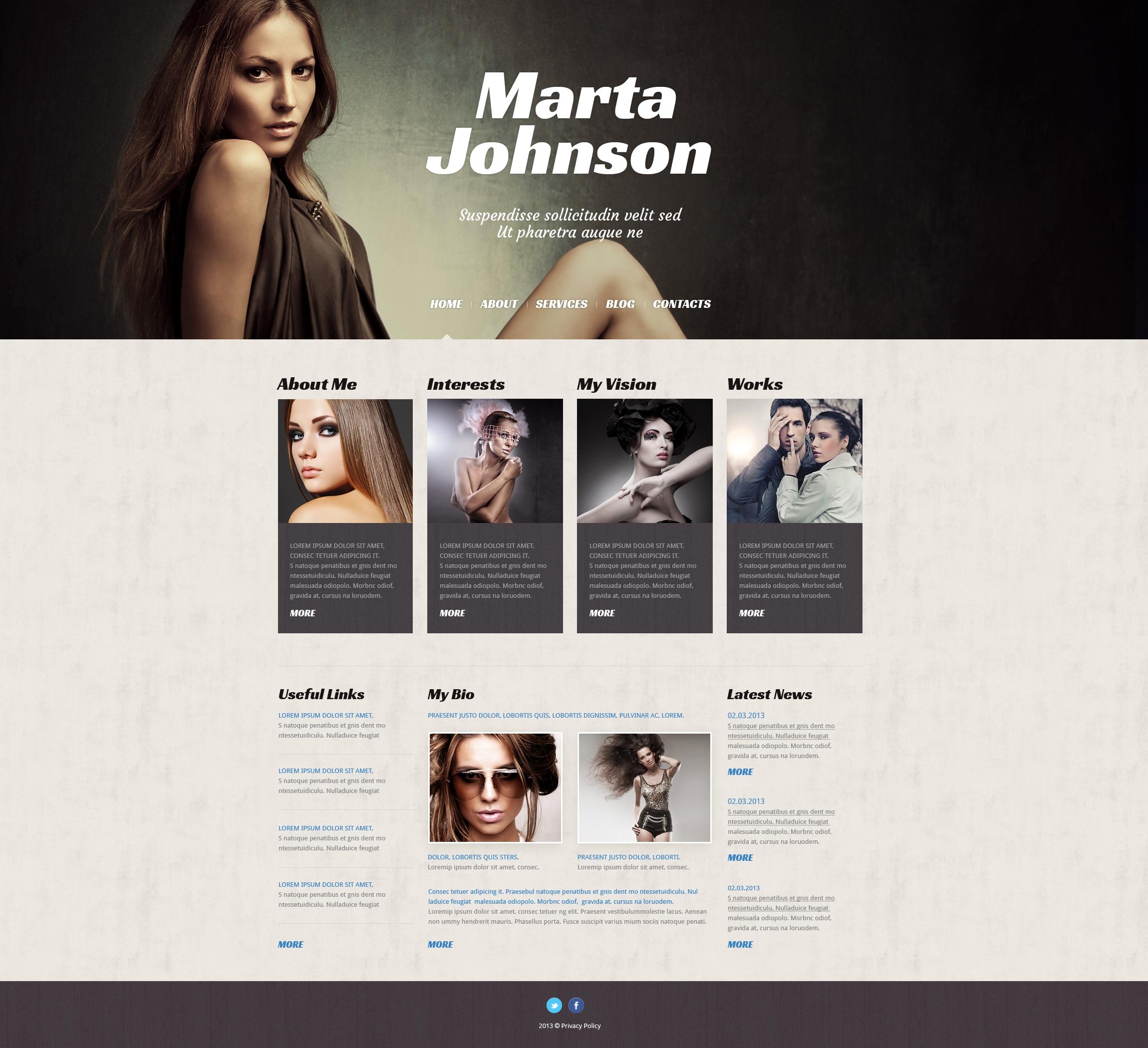 model agency responsive wordpress theme 50526. Black Bedroom Furniture Sets. Home Design Ideas