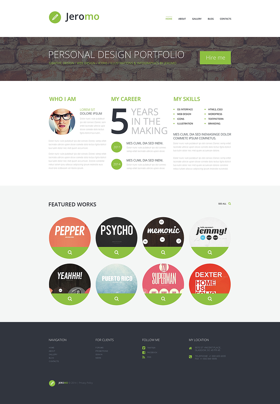 Personal Design Portfolio WordPress Theme