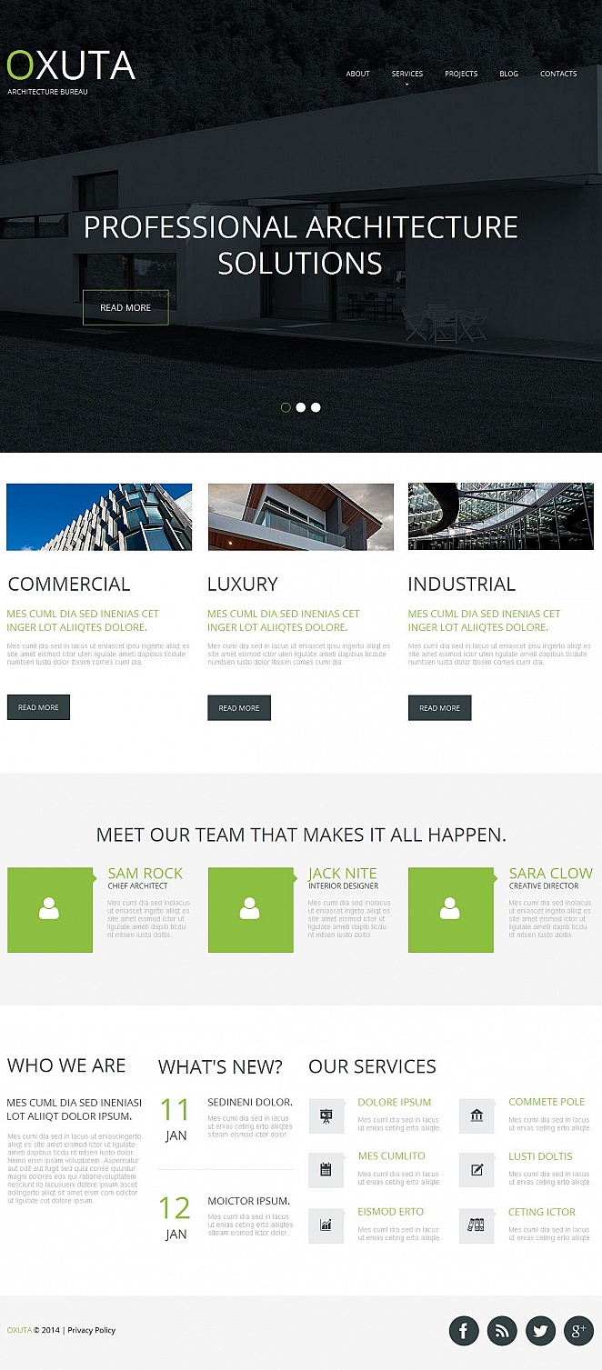 Architecture Website Design with Ghost Buttons - image