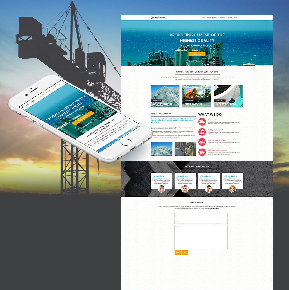 Cement Company Template with an Interactive Google Map - image