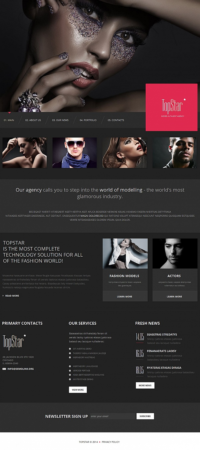 Creative Website Template for Modeling Agency - image