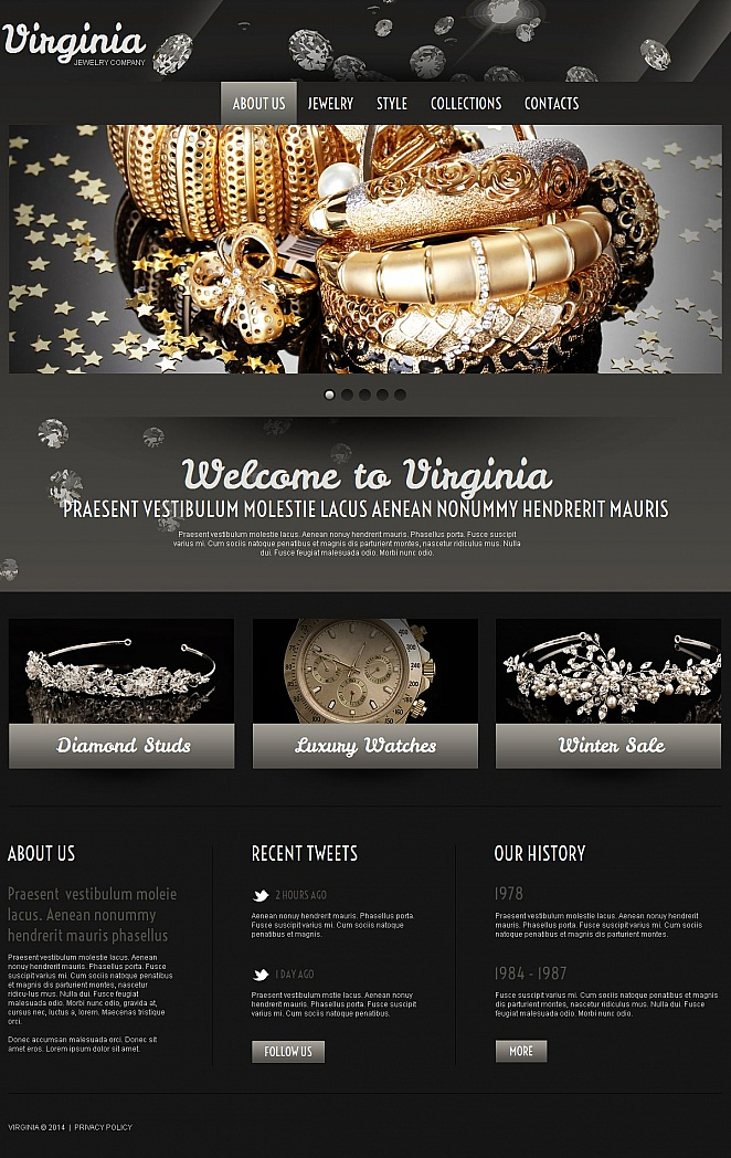 Einfarbige HTML Homepage-Vorlage für Accessoires und Schmuck - image