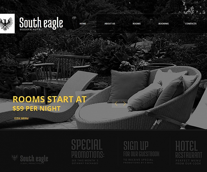 Hotel Website Template with Monochromatic Design - image