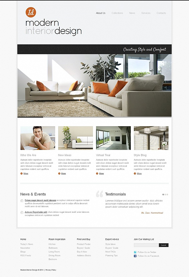 Interior Design Website Template Done in Minimalist Style - image