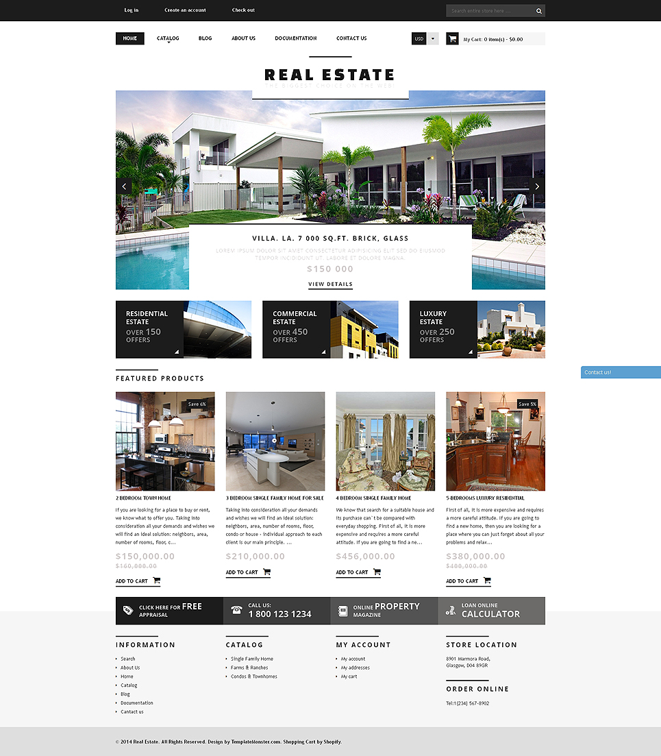 Bootstrap Real Estate Agency Responsive Shopify Theme Templates - Shopify website templates