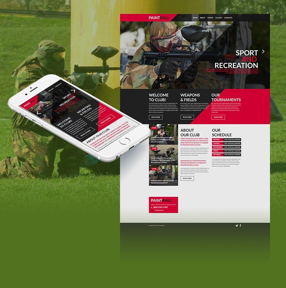 Paintball Website Template with Large Images - image