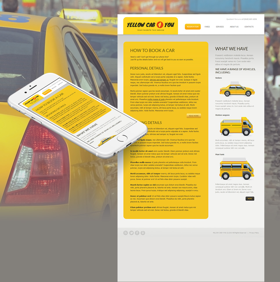 Content-Oriented Web Template for Taxi Services - image