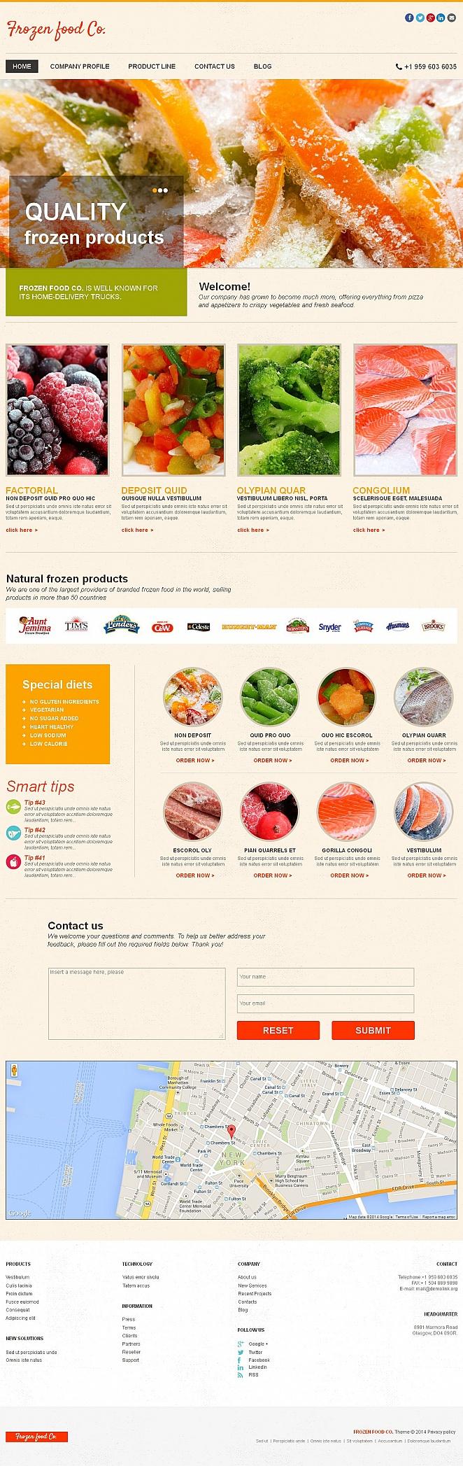 Homepage-Vorlage für die Tiefkühlkost mit dem Bilderslider - image