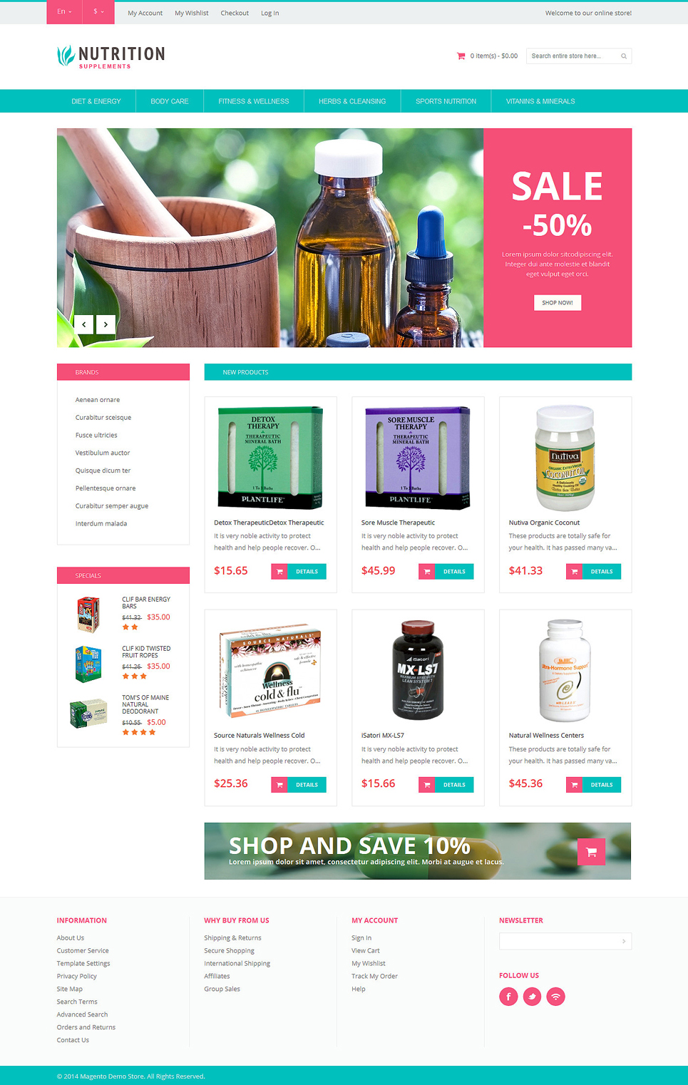 The Sheer Healthy Life Supplements Magento Theme
