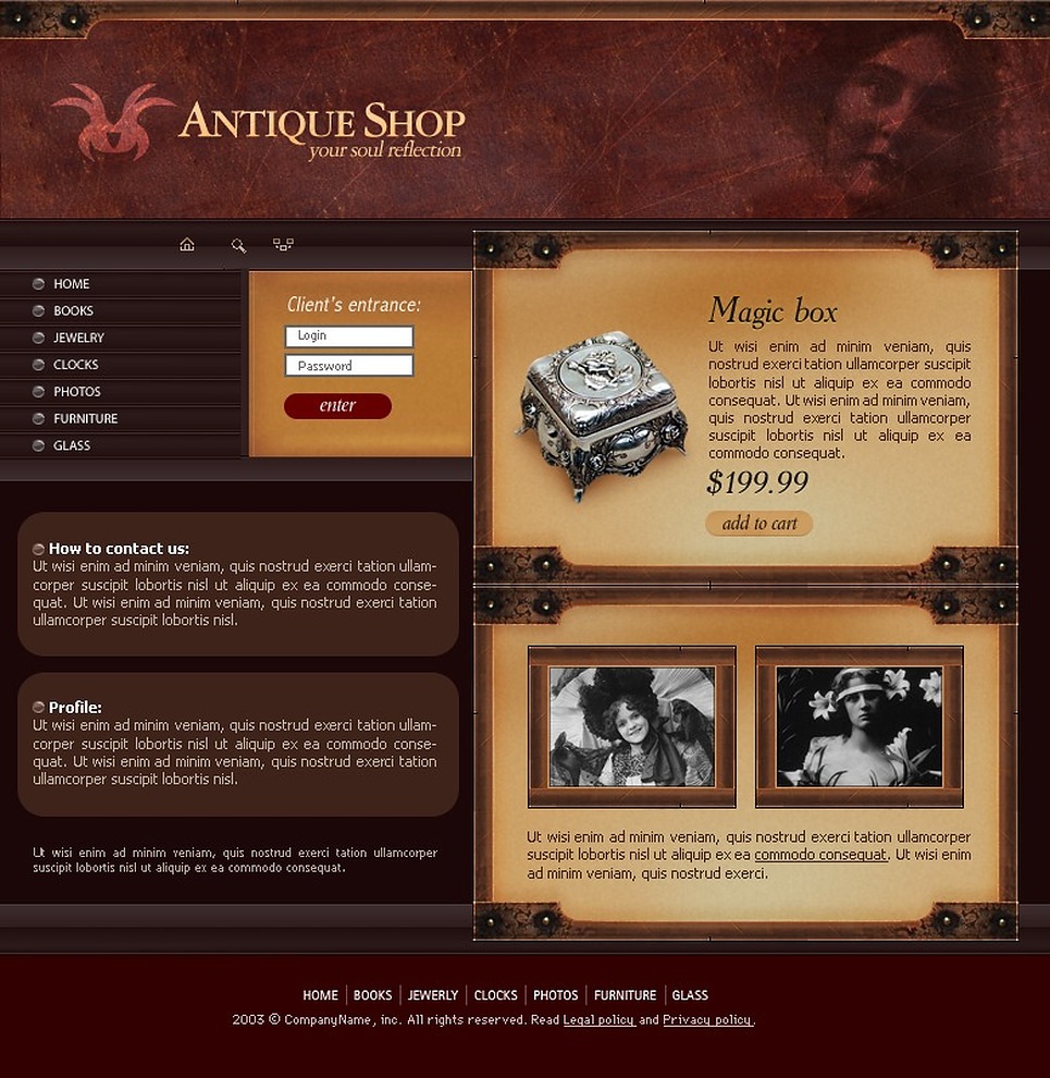 Antique Store Website Template New Screenshots BIG