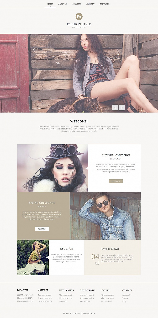 Fashion Photography Web Template Designed in Faded Tones - image