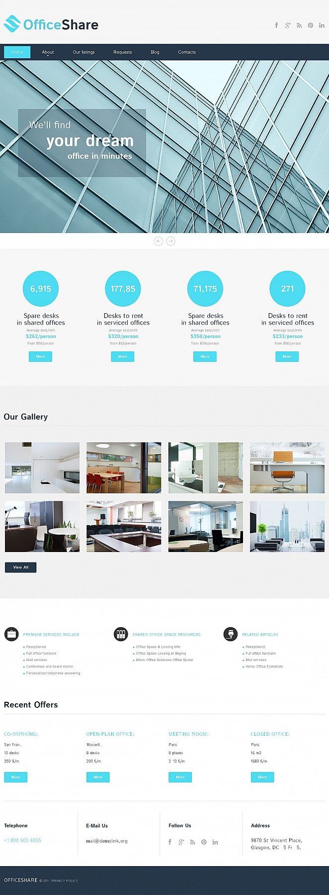 Business Website Template for Office Rental - image
