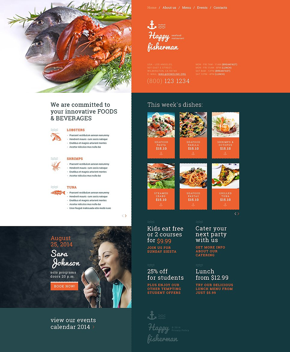 Bootstrap seafood restaurant responsive website template templates bootstrap seafood restaurant responsive website template maxwellsz