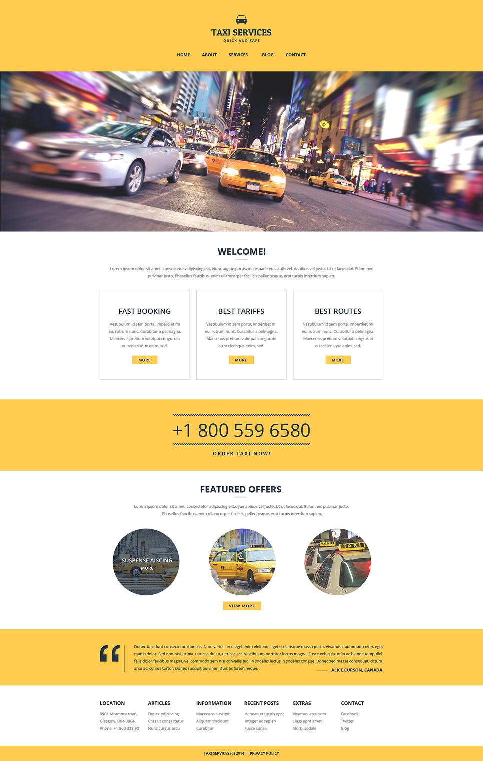 шаблон сайта такси: