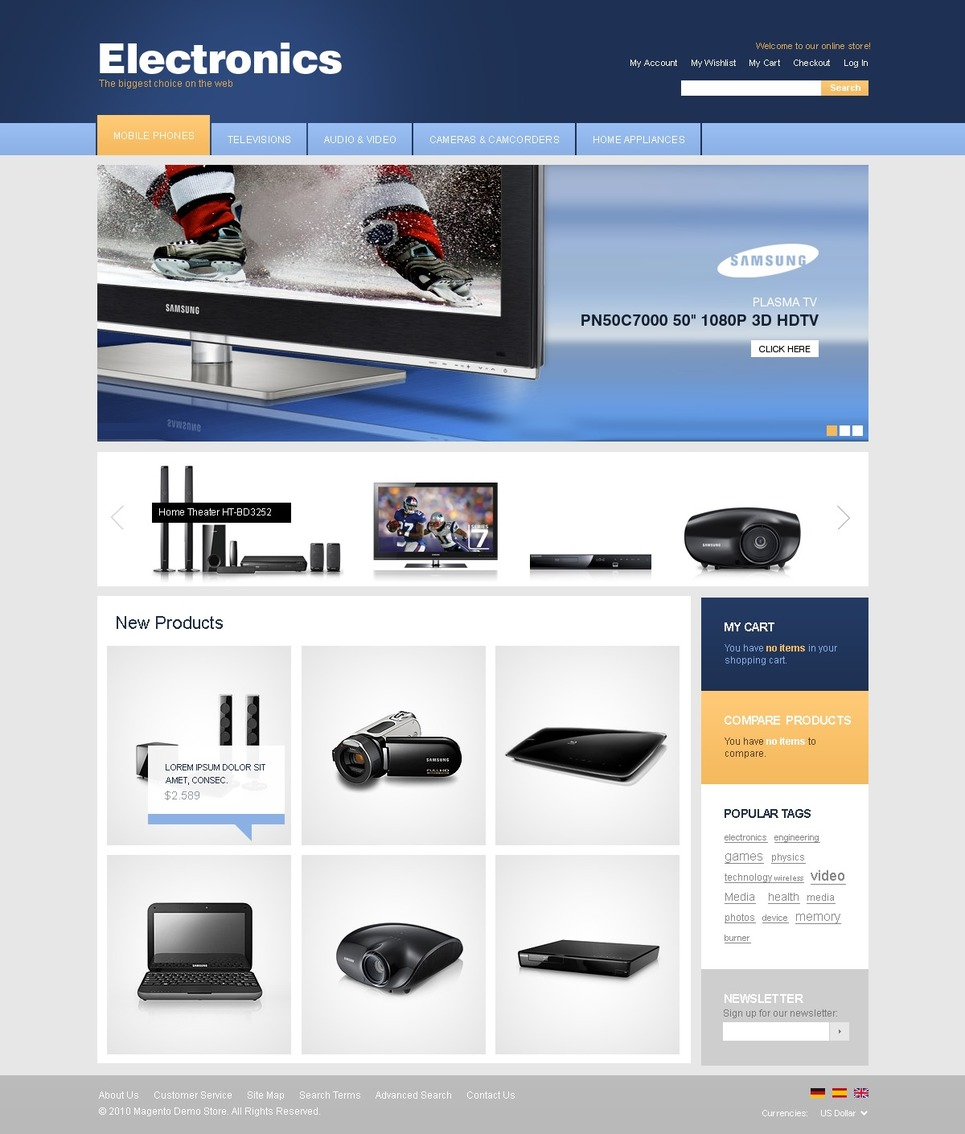 Free Magento Themes (Magento) Magento Theme New Screenshots BIG